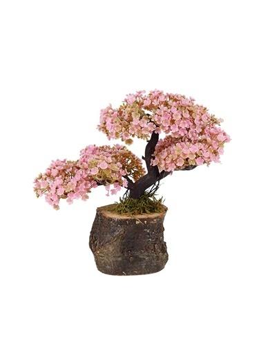 Çiçekmisin Doğal Kütük Saksıda Yapay Çiçek Pembe